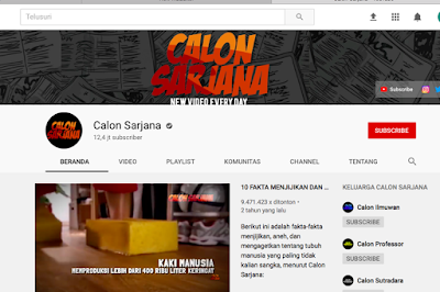 Channel Youtube Calon Sarjana Hilang dihapus
