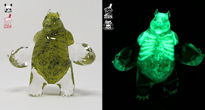 """Toxic Bag of Bones"" Panda King 3 Glow in the Dark Resin Figure by Woes Martin x Scott Wilkowski x Silent Stage Gallery"