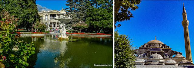 Os jardins do Palácio de Dolmabahçe e a cúpula da Mesquita Azul