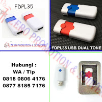 USB Flashdrive Dual Tone Push FDPL35, Flashdisk promosi FDPL35 White Red, USB Dual-Tone Push (Kode: H-FDPL35), Flashdisk Promosi Plastik dengan harga termurah