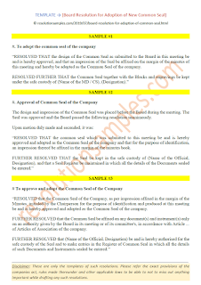 board resolution for adoption of new common seal