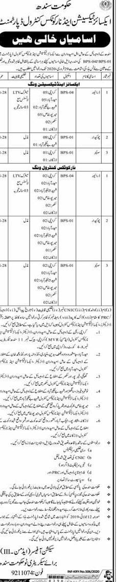 Jobs in Excise Taxation and Narcotics Control Department Govt of Sindh 2020