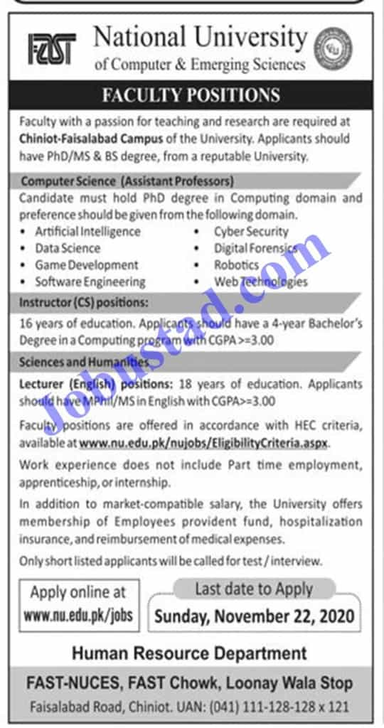 Jobs in Fast University Nov Latest 2020