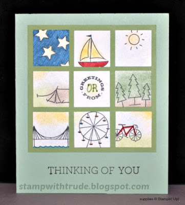 Greetings From, Stampin' Up!, Stamp with Trude, Tuesday Tutorial, Inchies style, travel
