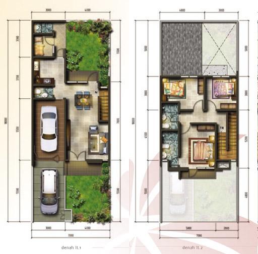 Denah rumah minimalis ukuran 7x18 meter 4 kamar tidur 2 lantai
