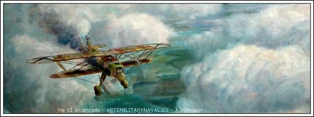 Oleo de un biplano Heinkel H51 tocado en combate por un I-15 Chato