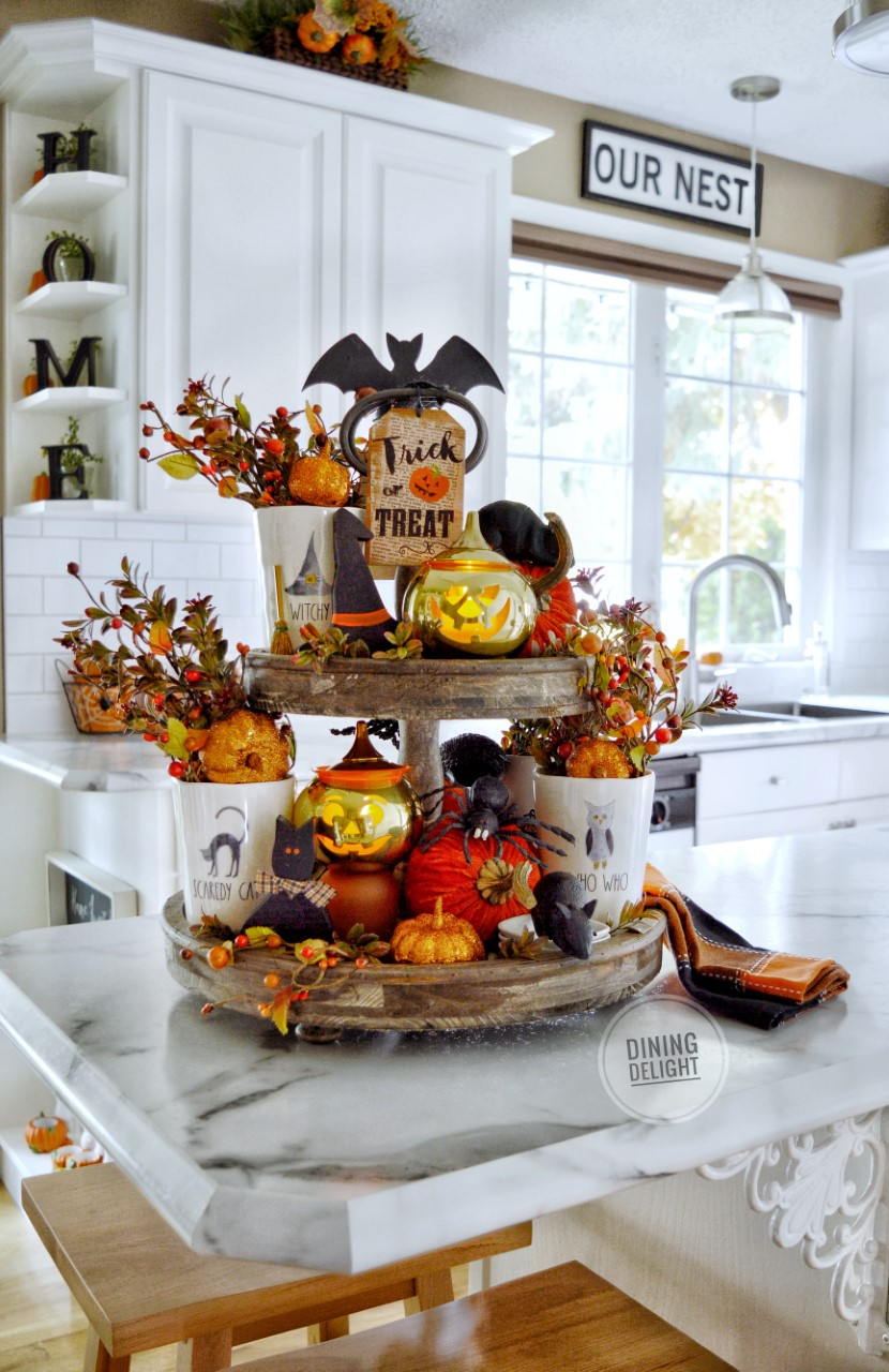 tiered tray decor for fall and halloween