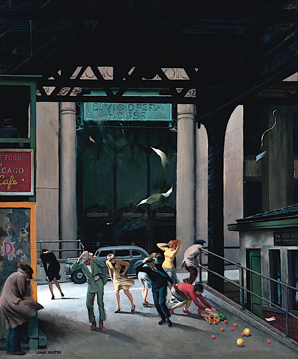 a John Falter illustration of urban people struggling in a strong wind
