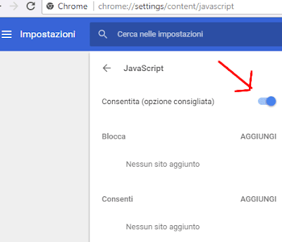 Come disattivare javascript su chrome