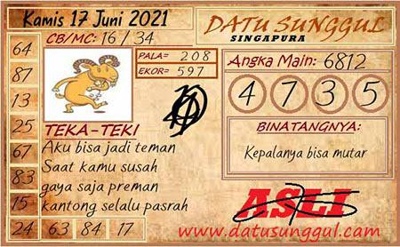 Prediksi Datu Sunggul SGP Kamis 17 Juni 2021
