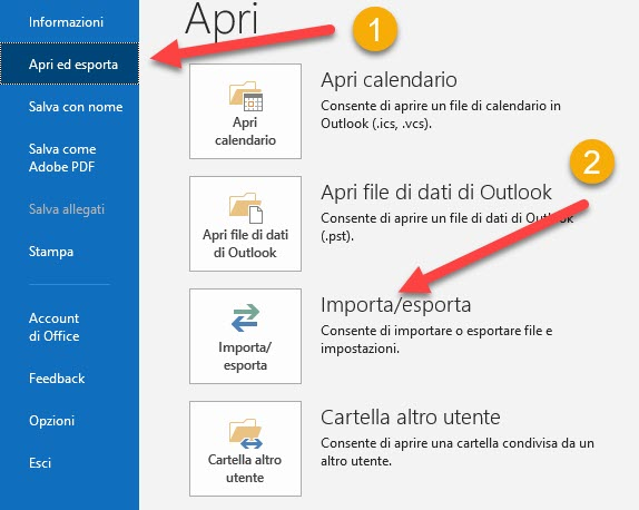 importare i contatti android in outlook di office