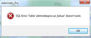 Cara Mengatasi SQL error Table admindespro.sur_keluar Doesn't exist