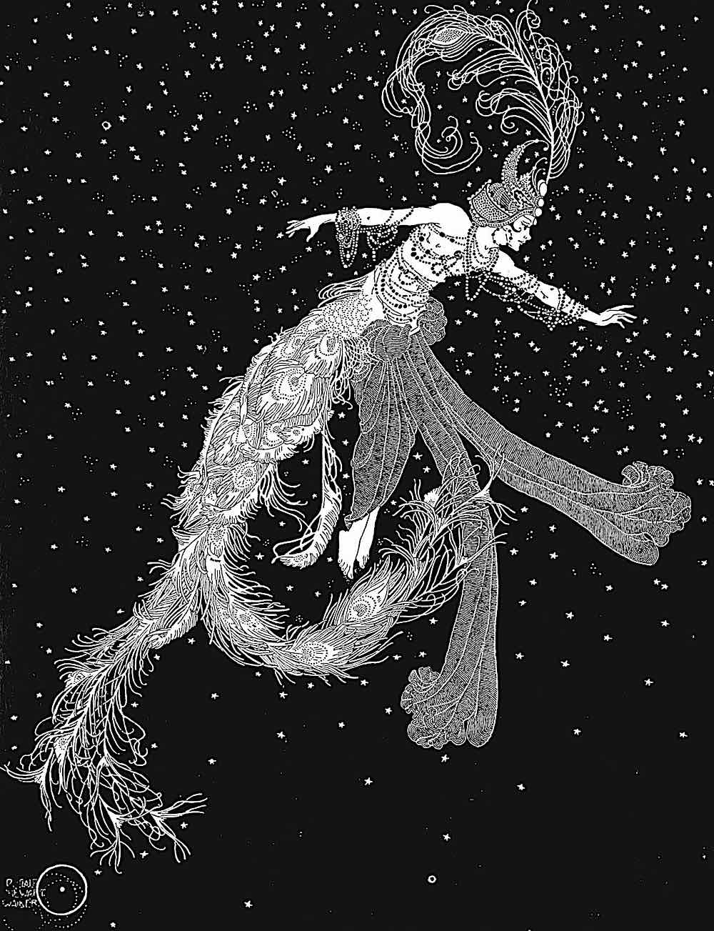 a Dugold Stewart Walker illustration of a dancer in the night sky with stars