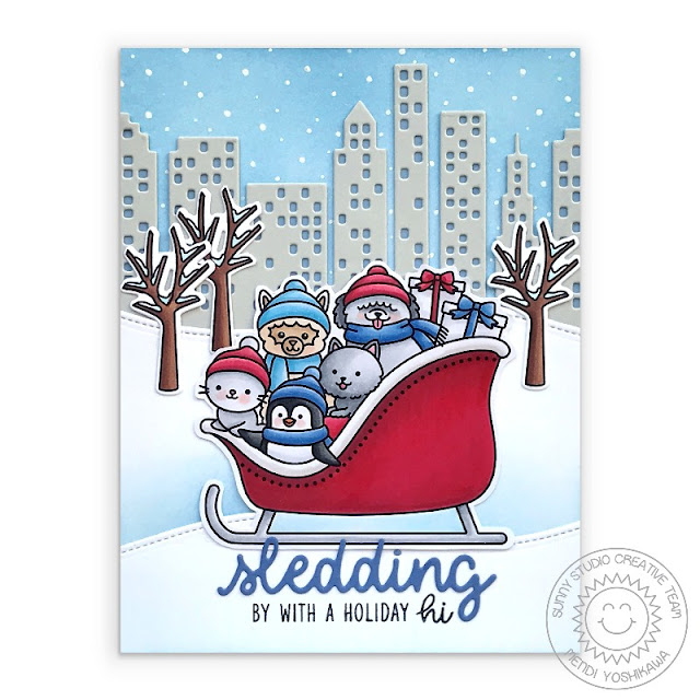 Sunny Studio Sledding By With A Holiday Hi Central Park New York City Inspired Handmade Card (using Sledding Critters, Christmas Home Stamps, Cityscape Border & Woodland Border Dies)