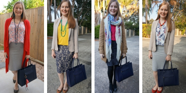 4 outfit ideas with a large navy tote bag and pencil skirt for the office   away from the blue
