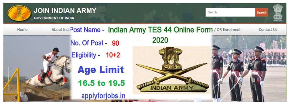 Indian Army TES 44th Application form 2020, applyforjobs.in, applyforjobs