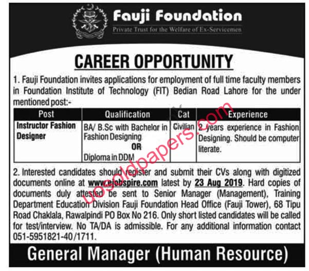 Instructor Fashion Designer Jobs in Fauji Foundation, in Rawalpindi, Punjab, Pakistan.