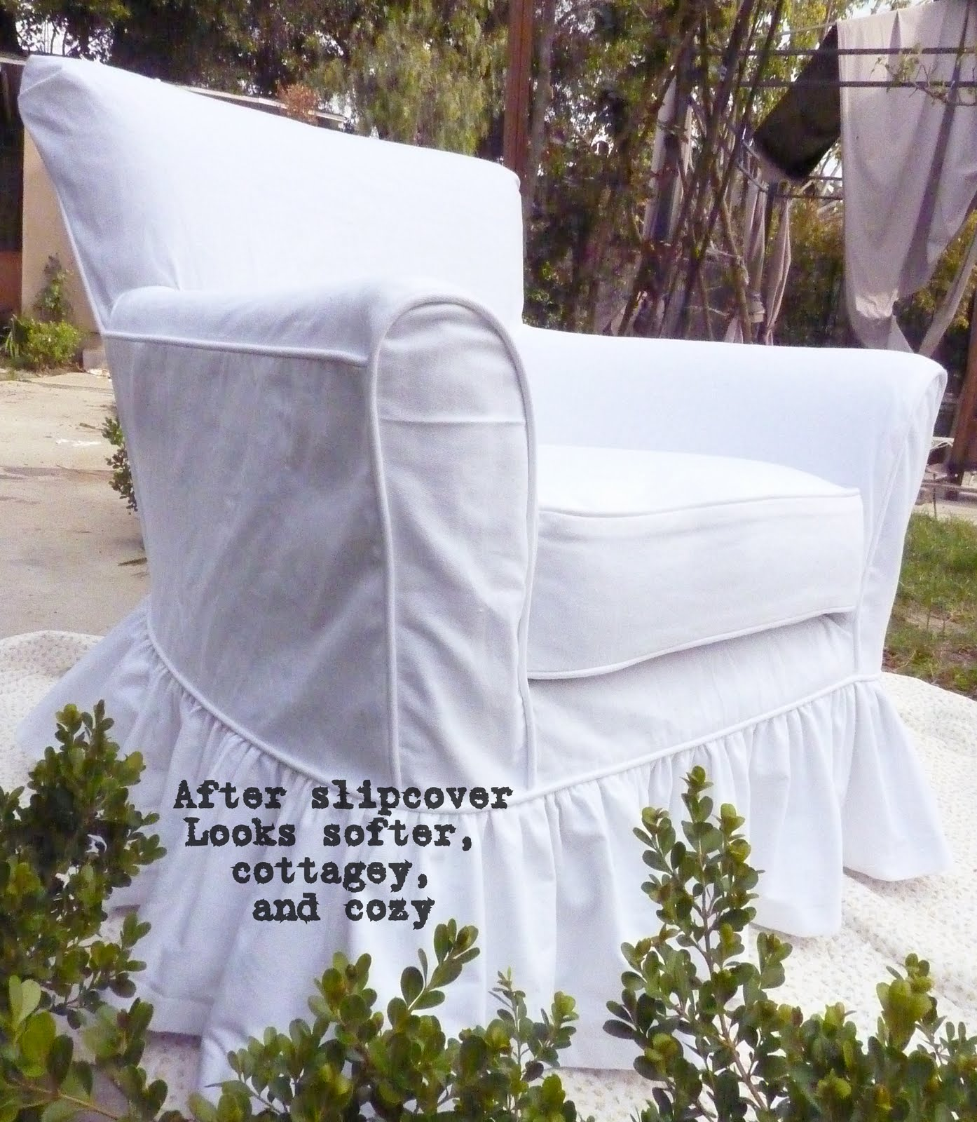 Cottage by Design with Trish Banner White Denim Chair Slipcover