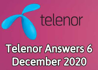 6 December Telenor Quiz | Telenor Answers 6 December 2020