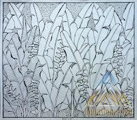 sketsa gambar relief Pisang bali untuk batu alam paras jogja/ batu paras putih