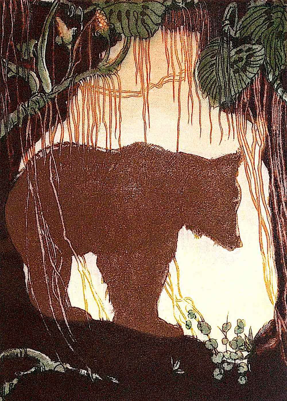 M. De Becque, a silhouette of a bear at a cave entrance