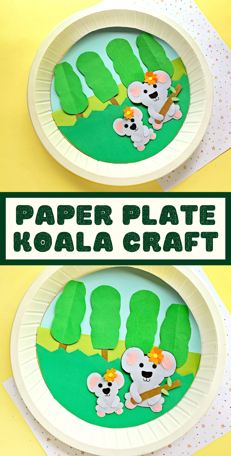 Koala craft for kids. Easy paper plate craft with printable koala template.