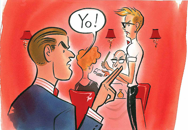 a Maurice Vellekoop illustration of a rude man summoning a busy waiter, Yo!