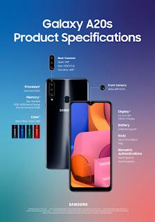 سعر وجدول مواصفات Samsung Galaxy A20s-مميزات وعيوب سامسونج Galaxy A20s