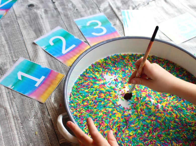 Sensory writing tray with number cards