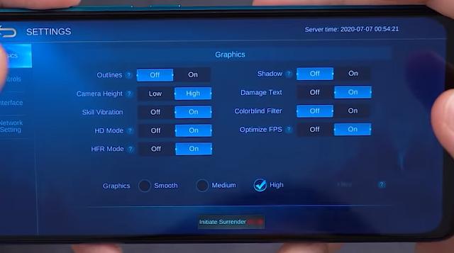 Kenampakan Pengaturan Redmi 9 untuk Main Mobile Legend