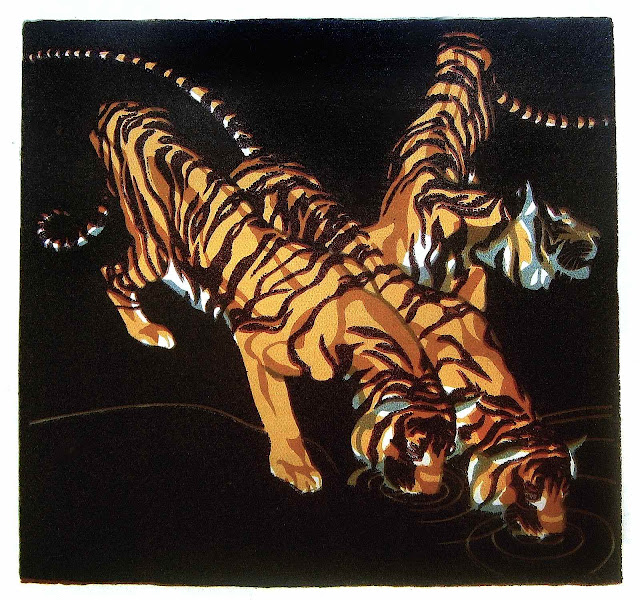 Nobertine Bresselern-Roth, tigers drinking at the water