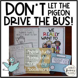 Don't Let the Pigeon Drive the Bus! is a fun read aloud for Back to School! These fun activities are standards based, and include a book study, class book, craftivity, and bookmarks. Your students will be SUPER engaged as they do these literacy activities!