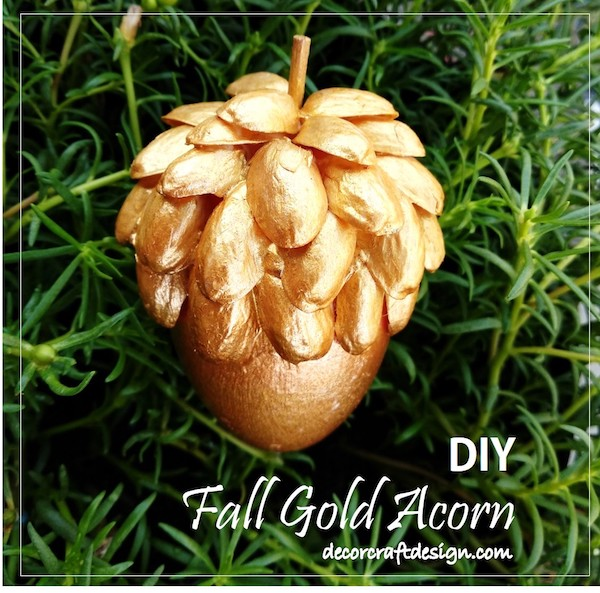 DIY Fall Gold Acorn