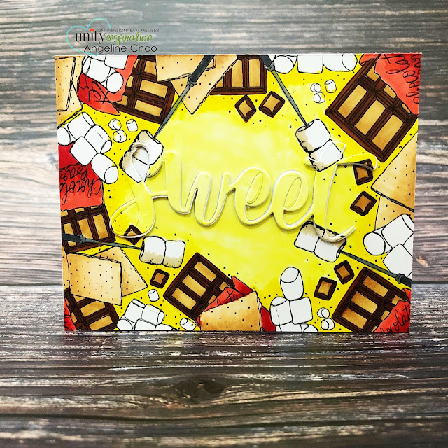ScrappyScrappy: Unity Stamp & Graciellie Design Instagram Hop - S'mores background stamp #scrappyscrappy #unitystampco #youtube #cardmaking #card #stamping #quicktipvideo #papercraft #gracielliedesign #smores #katscrappiness #dimensionaldiecutword #copicmarkers #chocolate