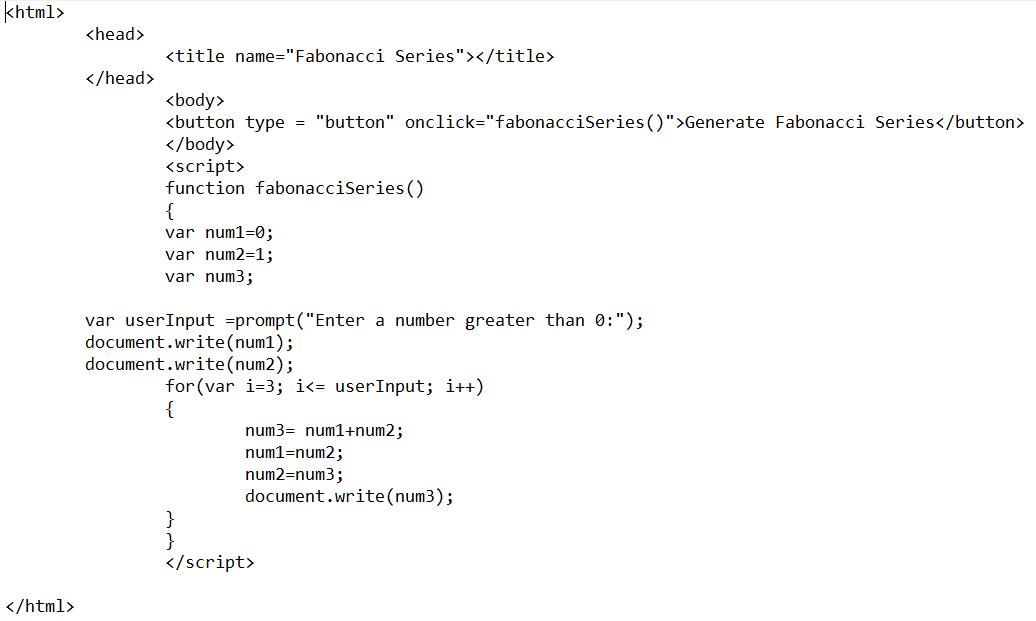 Fibonacci Series JavaScript