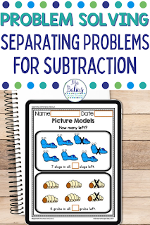 Learn about the different types of addition and subtraction problem solving types.   This article focuses on the separating problems for subtraction.  Learn about each type and how you can teach it in your classroom.