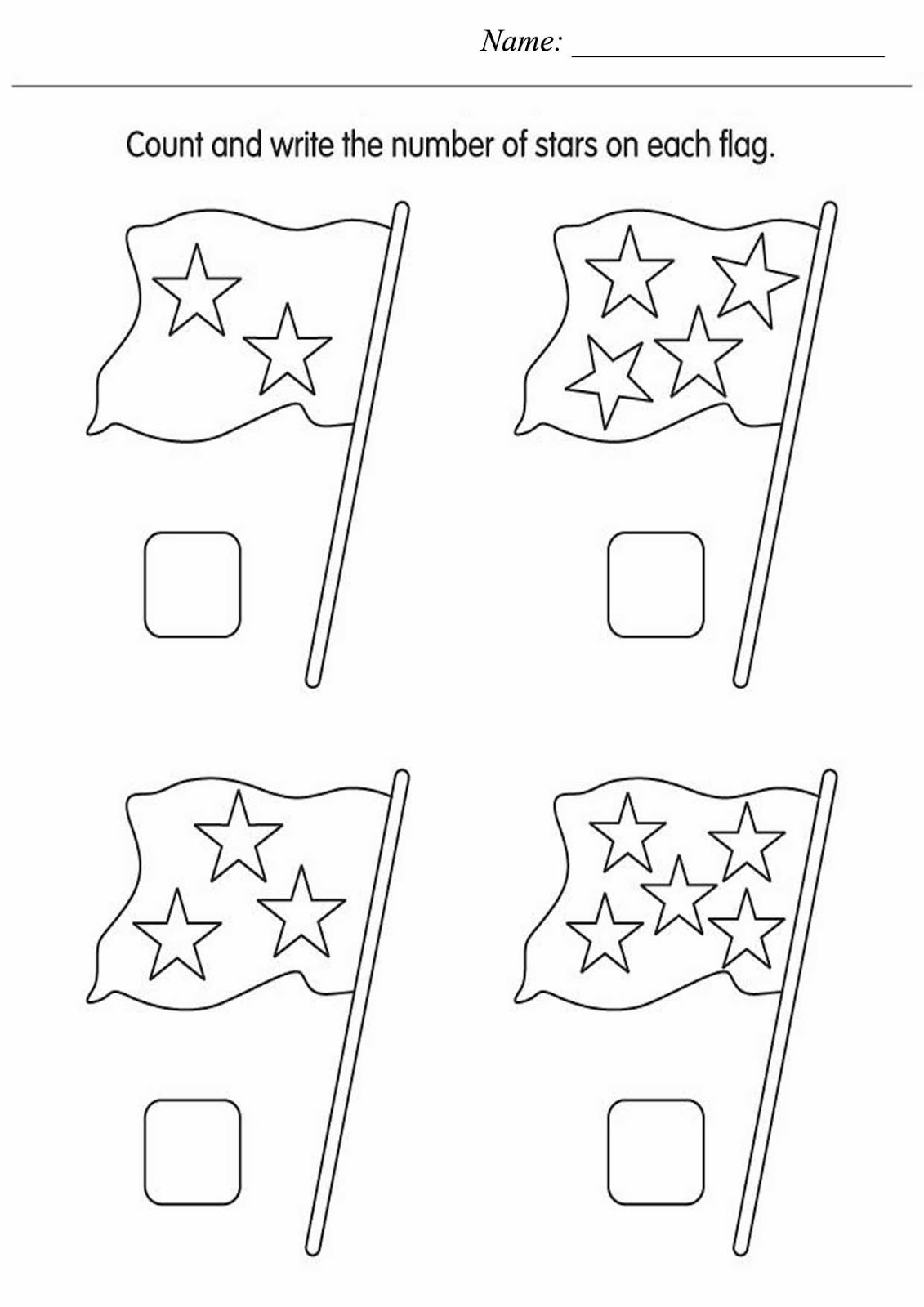 Kids Page Count The Stars Worksheet