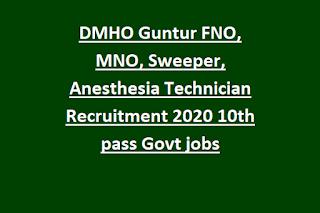 DMHO Guntur FNO, MNO, Sweeper, Anesthesia Technician Recruitment 2020 10th pass Govt jobs