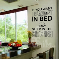 vinilo decorativo frase cocina breakfast in bed