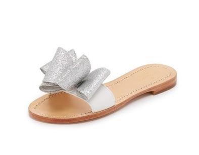 Kate Spade Silver Flat Slides With Bow