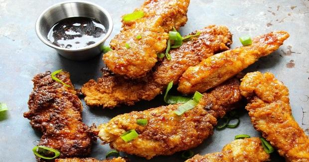 Spicy Brown Sugar Glazed Fried Chicken Strips Recipe