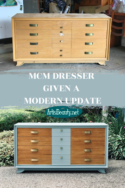 BEFORE AND AFTER MID CENTURY MOD MCM DRESSER UPDATE USING GENERAL FINISHES MILK PAINT IN PERSIAN BLUE
