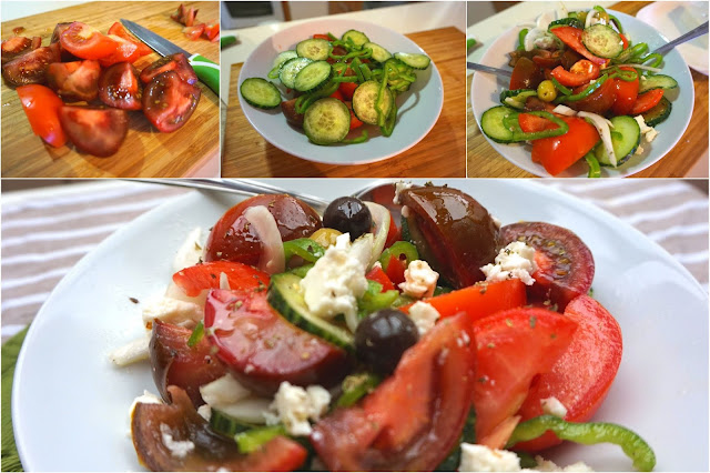 Ensalada griega. Tomate, pepino y queso feta.