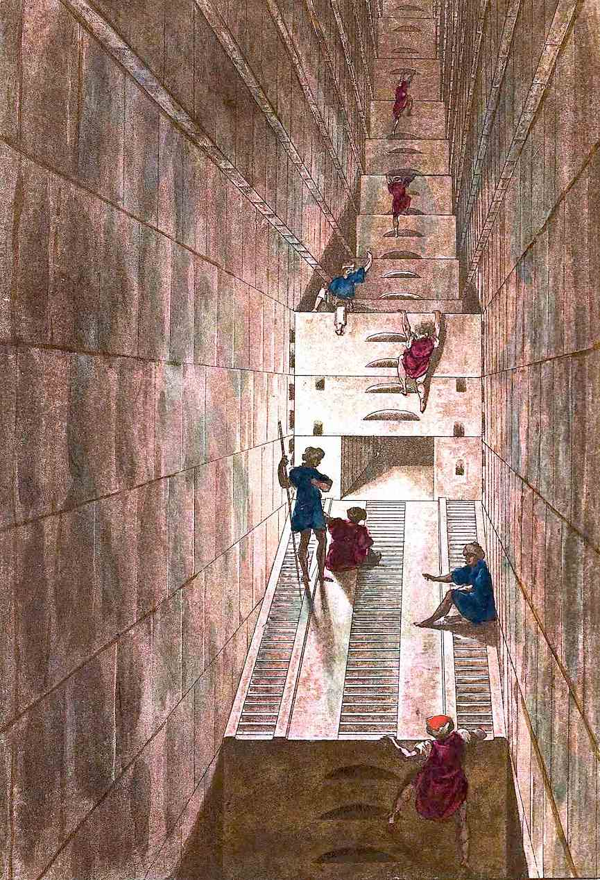 an 1815 color illustration of Royal tomb explorers in Egypt, inside a pyramid