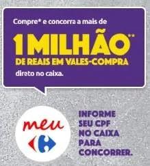 Promoção Meu Carrefour Cupom Premiado 1 Milhão Reais Vale-Compras