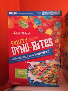 A box of Malt o' Meal Fruity Dyno Bites Cereal