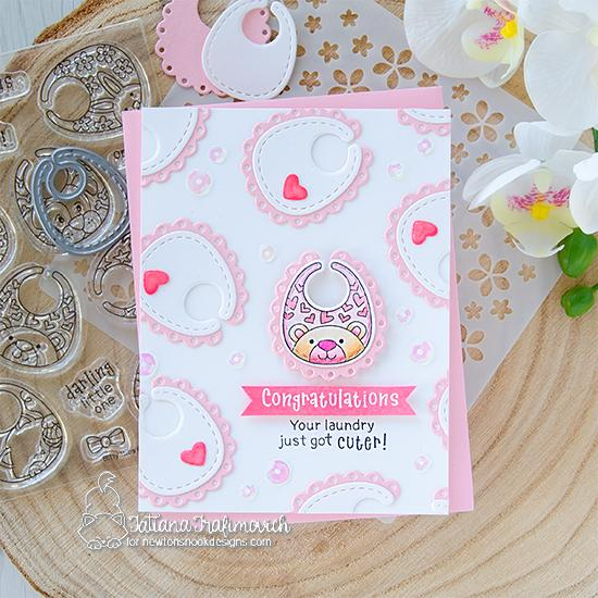 Baby Bib Girl Card by Tatiana Trafimovich | Bitty Bibs Stamp Set and Baby Bib Die Set by Newton's Nook Designs #newtonsnook #handmade