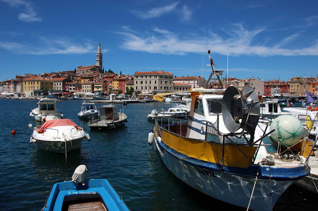Rovinj, Croatia, Europe, old town. Harbour, boats, town, facades, doors and windows
