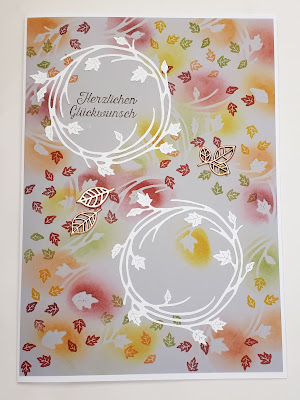 Schöne bunte Herbstkränze auf der großen Glückwunschkarte Stampin' Up! www.eris-kreativwerkstatt.blogspot.de
