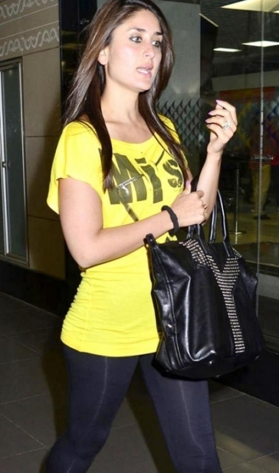 Bollywood Actress Kareena Kapoor Stills In Yellow Dress Blue Jeans